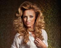 Beautiful Blond Woman. Curly Long Hair Royalty Free Stock Photography
