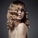 Beautiful Blond Woman. Curly Long Hair Stock Photos