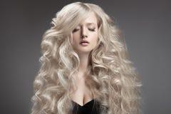 Beautiful Blond Woman. Curly Long Hair Royalty Free Stock Photos