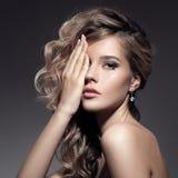 Beautiful Blond Woman. Curly Long Hair Stock Image