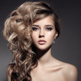 Beautiful Blond Woman. Curly Long Hair Stock Image