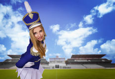 Beautiful blond woman drummer Stock Photo