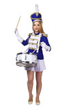 Beautiful blond woman drummer Stock Images