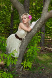 Beautiful blond woman in evening dress Stock Images