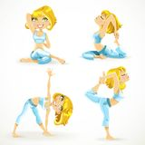 Beautiful blond woman exercising various different yoga poses Stock Photo