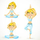 Beautiful blond woman exercising various different yoga poses Royalty Free Stock Images