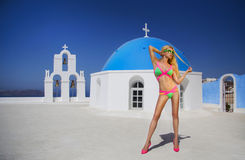 Beautiful blond woman in a fantastic color swimsuit Royalty Free Stock Images