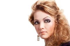 Beautiful blond woman with fashion hairstyle Royalty Free Stock Images