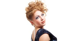 Beautiful blond woman with fashion hairstyle Stock Photography