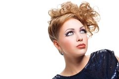 Beautiful blond woman with fashion hairstyle Stock Images