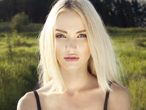 Beautiful Blond Woman in Forest Stock Photos