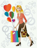 Beautiful blond woman with gift and balloons. Royalty Free Stock Image