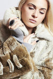 Beautiful blond woman Girl in Mink Fur Coat.winter fashion Royalty Free Stock Photos