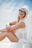 Beautiful blond woman in glasses Stock Photos