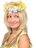Beautiful blond woman with hair wearing wreath Royalty Free Stock Images