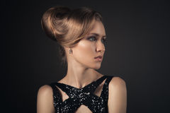 Beautiful Blond Woman. Hairstyle and Make-up. Royalty Free Stock Image