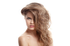 Beautiful Blond Woman. Hairstyle and Make-up. Isolated. Royalty Free Stock Photo