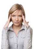 Beautiful blond woman having headache Royalty Free Stock Photos