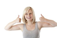 Beautiful blond woman holds both thumbs up Stock Image
