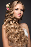 Beautiful blond woman in image of the bride with Stock Photos
