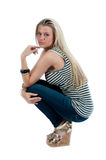Beautiful blond woman isolated on white Royalty Free Stock Photography
