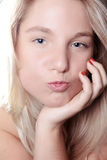 Beautiful blond woman kiss Royalty Free Stock Image