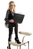 Beautiful blond woman with laptop Royalty Free Stock Image