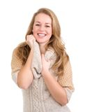 Beautiful blond woman laughing Stock Photo