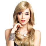 Beautiful blond woman with long hairstyle Stock Photo