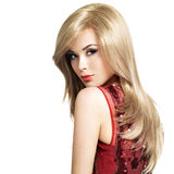 Beautiful blond woman with long hairstyle Stock Photography
