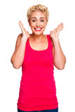 Beautiful Blond Woman Looking Surprised Royalty Free Stock Photo