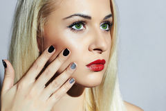 Beautiful blond Woman with Manicure.Beauty Girl.shellac design Stock Images