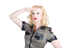 Beautiful blond woman in military outfit Royalty Free Stock Photo