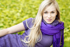 Beautiful blond woman- outdoor spring  portrait Stock Image