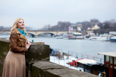 Beautiful blond woman in Paris Royalty Free Stock Photo
