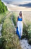 Beautiful blond woman on a path in a wheat field Royalty Free Stock Photography