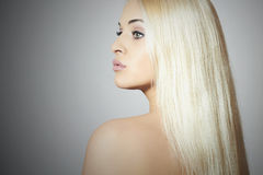 Beautiful Blond Woman with Perfect Hair.Sexy Girl Royalty Free Stock Photography