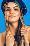 Beautiful blond woman with plaits in turban Royalty Free Stock Photography