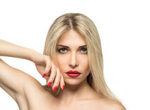 Beautiful Blond Woman Portrait close-up. Hairstyle. Red lips. Ma Royalty Free Stock Photography