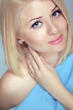 Beautiful blond woman portrait, makeup, skin care, bob hairstyle Stock Photo