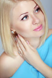 Beautiful blond woman portrait, makeup, skin care, bob hairstyle Stock Images