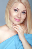 Beautiful blond woman portrait, makeup, skin care, bob hairstyle Royalty Free Stock Photography