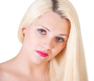 Beautiful blond woman portrait  and straight long hair Stock Photo