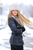 Beautiful blond woman portrait in winter Royalty Free Stock Images