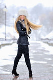 Beautiful blond woman portrait in winter Royalty Free Stock Photo