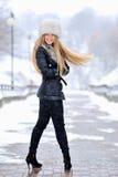 Beautiful blond woman portrait in winter Royalty Free Stock Photo