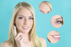 Beautiful blond woman putting an anti wrinkle cream Stock Images