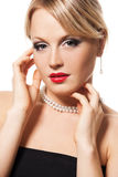 Beautiful blond woman with red lips Royalty Free Stock Photos