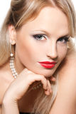 Beautiful blond woman with red lips Stock Image