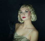 Beautiful blond woman retro portrait. Stock Images